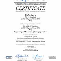 Certificato Qualità IQNet 2016