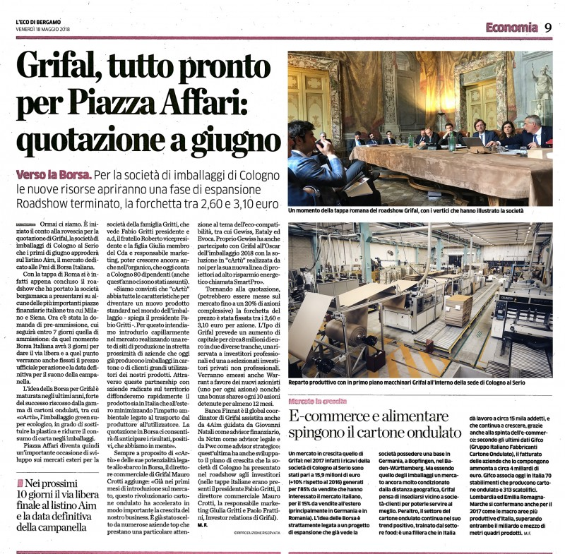 eco di bergamo grifal aim italia borsa articolo news