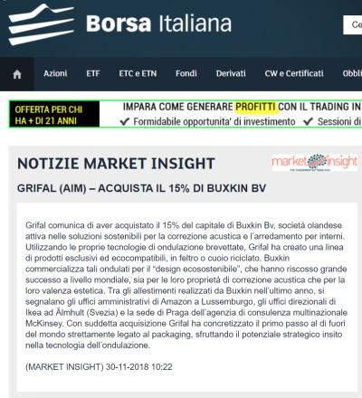 borsa italiana grifal buxkin market insight