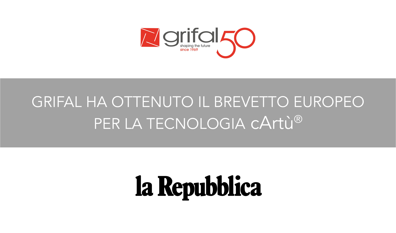 L'Ufficio Europeo dei Brevetti ha comunicato a Grifal la conferma del brevetto europeo per il processo di produzione del suo prodotto più rivoluzionario: cArtù.