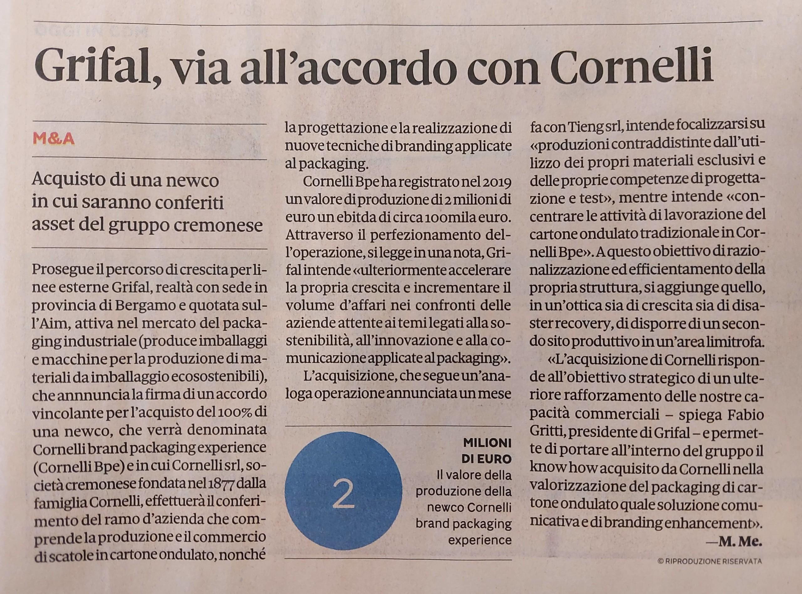 Diffusione stampa acquisizione Cornelli Grifal IlSole24Ore