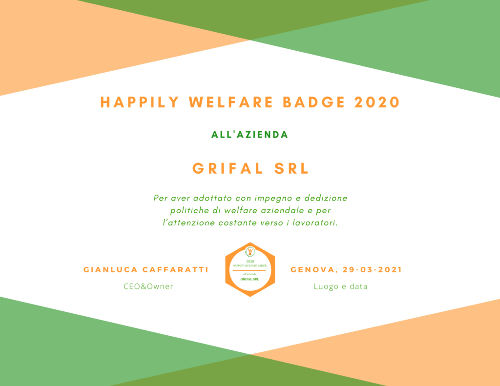 Happily Attestato Welfare Badge Grifal